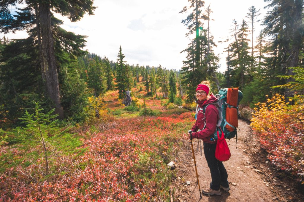 woman hiking elfin lakes in autumn