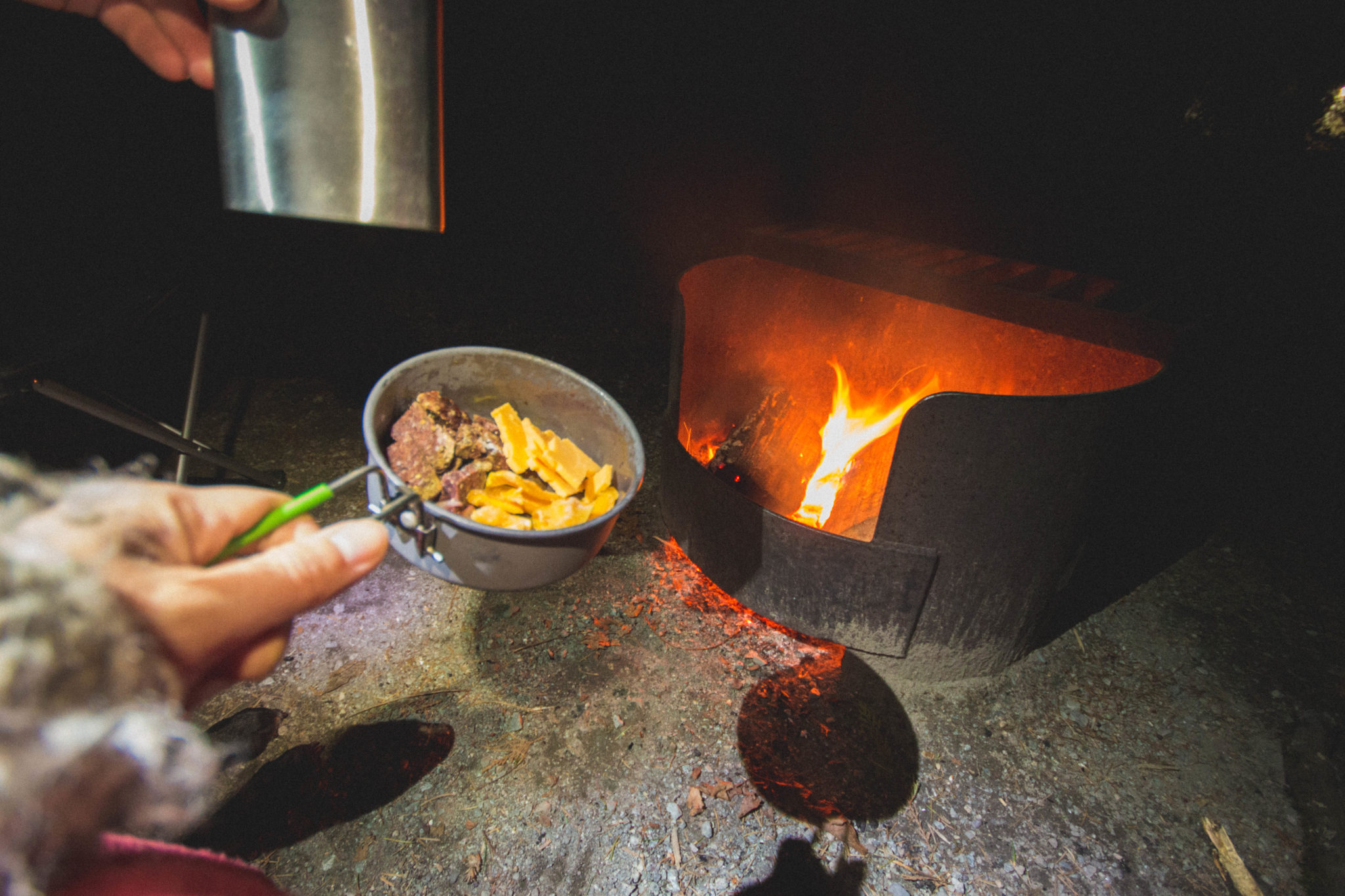 Campfire food, winter camping at porteau cove