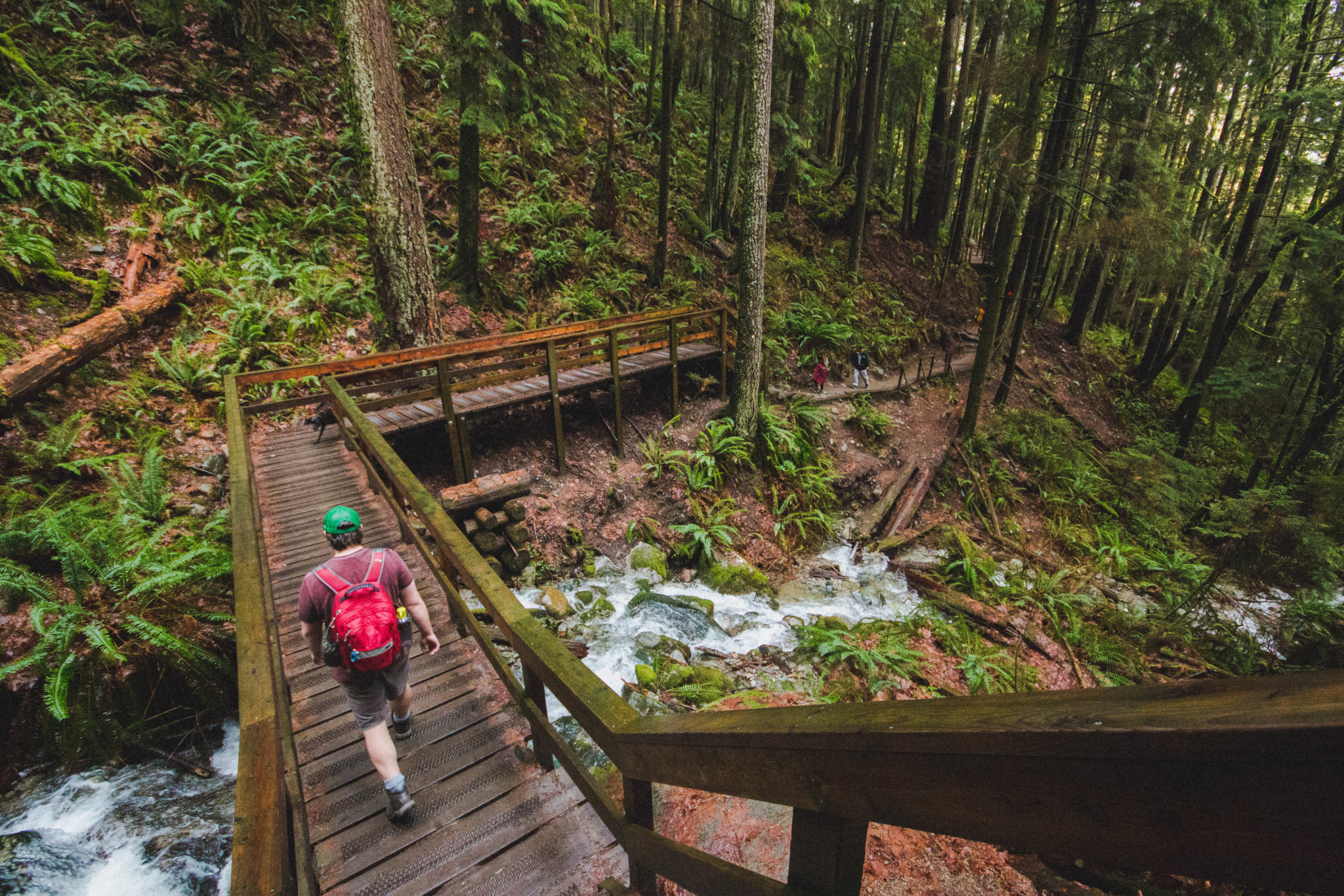 Hiking the wooden steps of the Baden Powell Trail to Quarry Rock