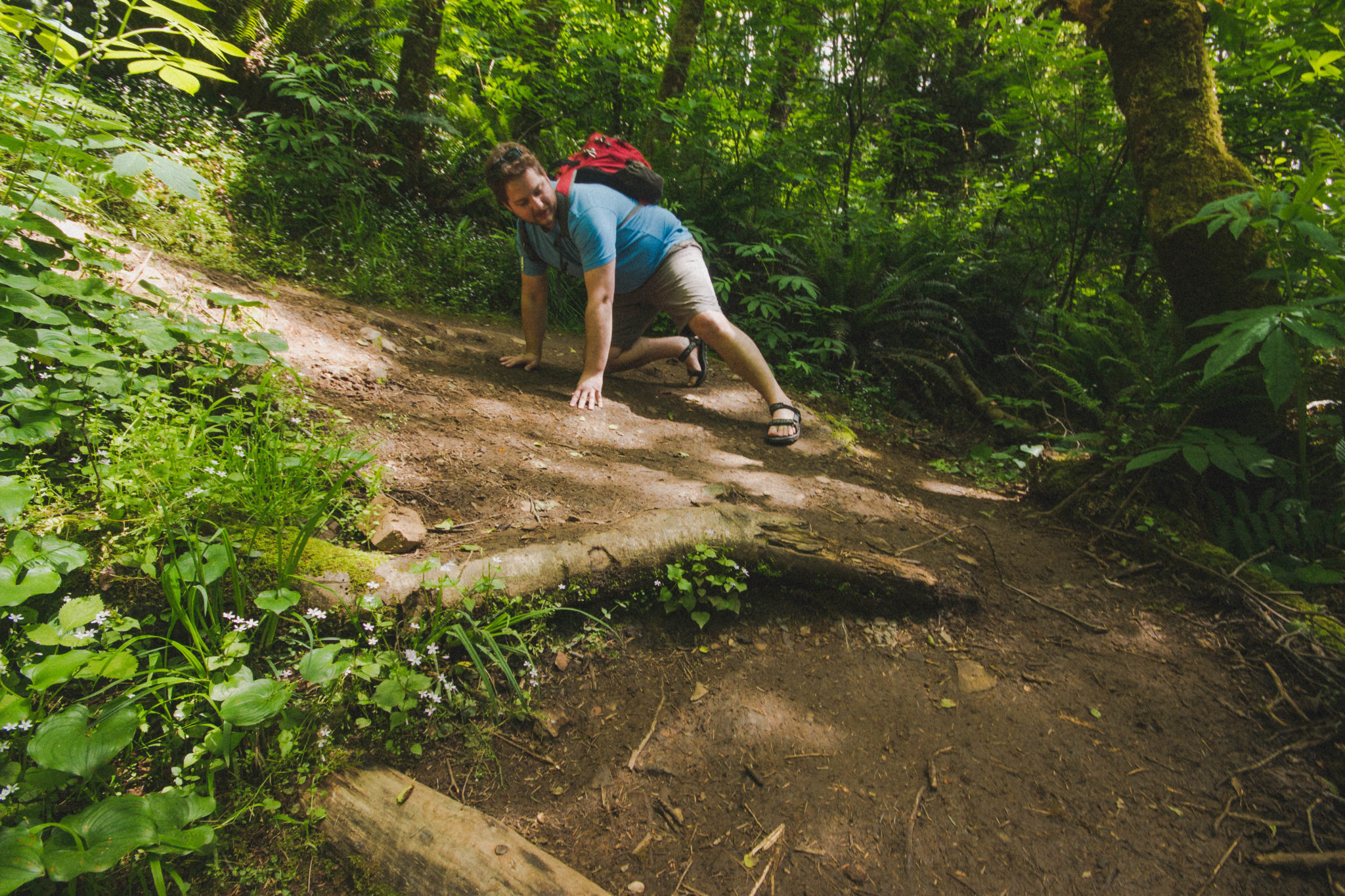 Nick-sliding-down-Crescent-Beach-Trail